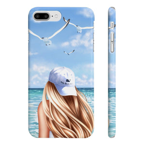 Beach Days Light Skin Blonde Hair iPhone Case - Protective Phone Cover - Planner Press Designs
