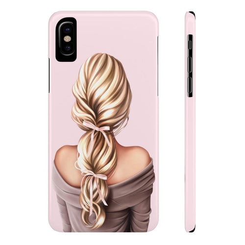 iPhone X Bows in My Hair Light Skin Blonde Hair Case Mate Slim Phone Cases