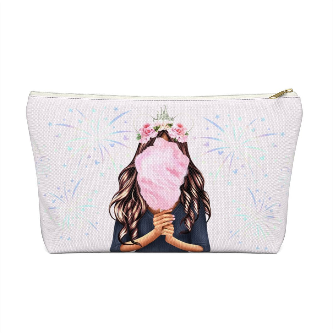 Cotton Candy Dreams Pouch Medium Skin Brown Hair Accessory Pouch with T-bottom - Pencil Case - Planner Press Designs
