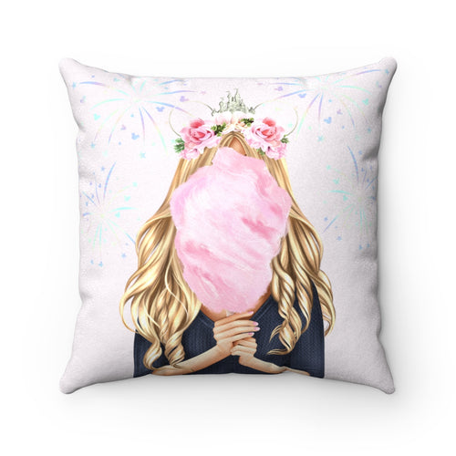 Pillowcase - Cotton Candy Disney Dreams Light Skin Blonde Hair Faux Suede Square Pillow