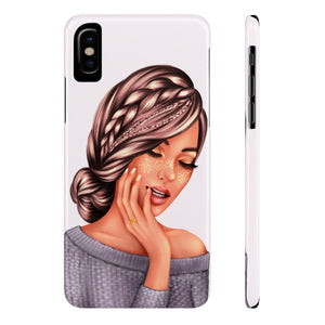 iPhone X Bow Glitter Medium Skin Brown Hair Case Mate Slim Phone Cases