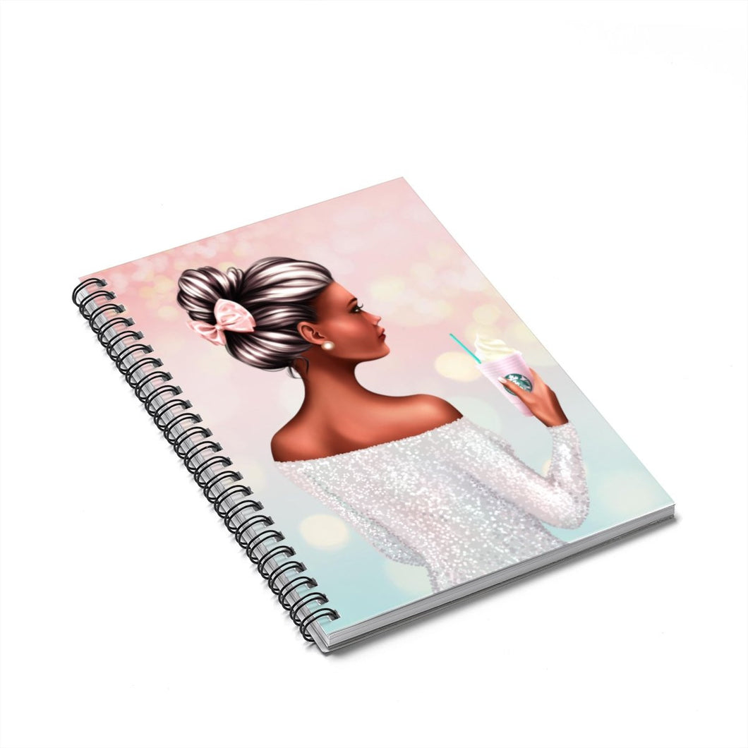 A Girl and Her Coffee Dark Skin Black Hair Spiral Notebook - Ruled Line - Planner Press Designs