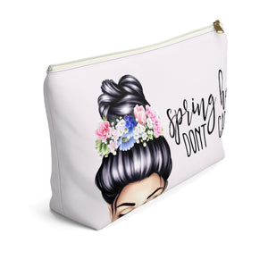 Spring Hair Don't Care Light Skin Black Hair Accessory Pouch with T-bottom - Pencil Case