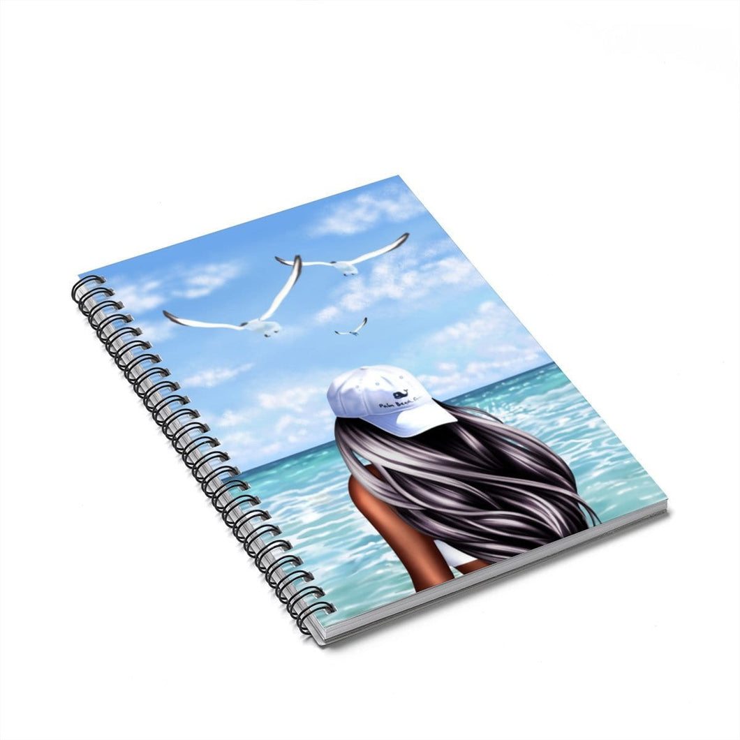 Beachy Vibes Dark  Skin Black Hair Spiral Notebook - Ruled Line - Planner Press Designs