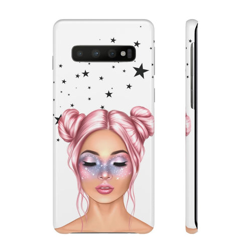 Galaxy Girl Light Skin Pink Hair Samsung S10's Snap Cases