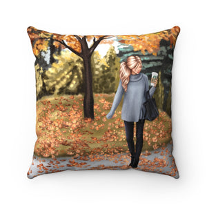 Pillow - Fall In the Park Light Skin Blonde Hair Faux Suede Square Pillow