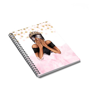 Birthday Girl Dark Skin Black Hair Spiral Notebook - Ruled Line