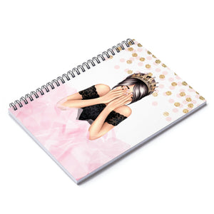 Birthday Girl Light Skin Black Hair Spiral Notebook - Ruled Line