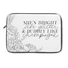 Load image into Gallery viewer, She's Bright Like Glitter - Bubbly Like Champagne Laptop Sleeve - Planner Press Designs