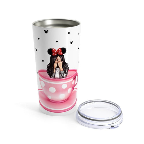Dizzy Tea Cup Coffee Tumbler Fair Skin Black Hair - Planner Press Designs