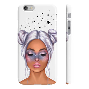 Galaxy Girl Medium Skin Purple Hair iPhone Case - Protective Phone Cover - Planner Press Designs