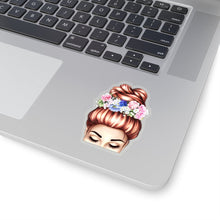 Load image into Gallery viewer, Spring Top Bun Girl Light Skin Red Hair Vinyl Sticker Decal