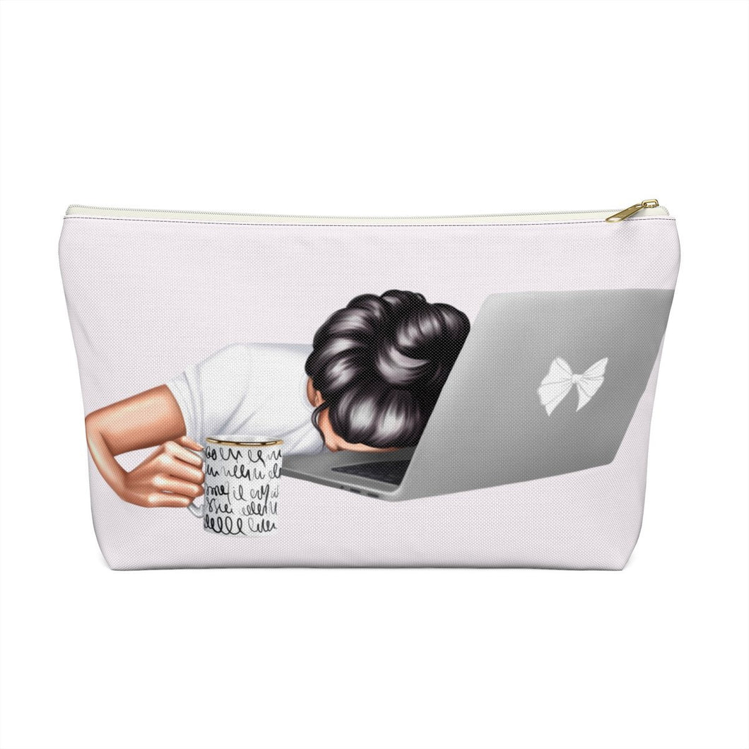 Tired Mondays Light Skin Black Hair Accessory Pouch with T-bottom - Pencil Case