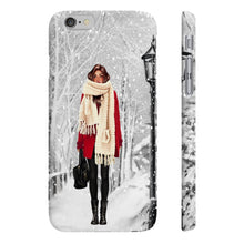 Load image into Gallery viewer, Winter Wonderland Medium Skin Brown Hair iPhone Case - Protective Phone Cover