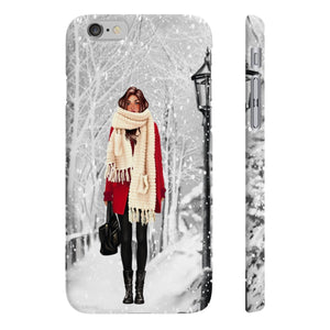 Winter Wonderland Medium Skin Brown Hair iPhone Case - Protective Phone Cover