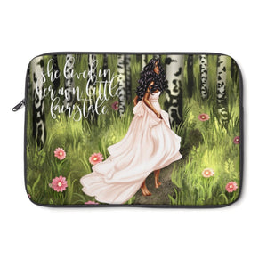 Fairytale Laptop Sleeve - Dark Skin - Black Hair - Planner Press Designs