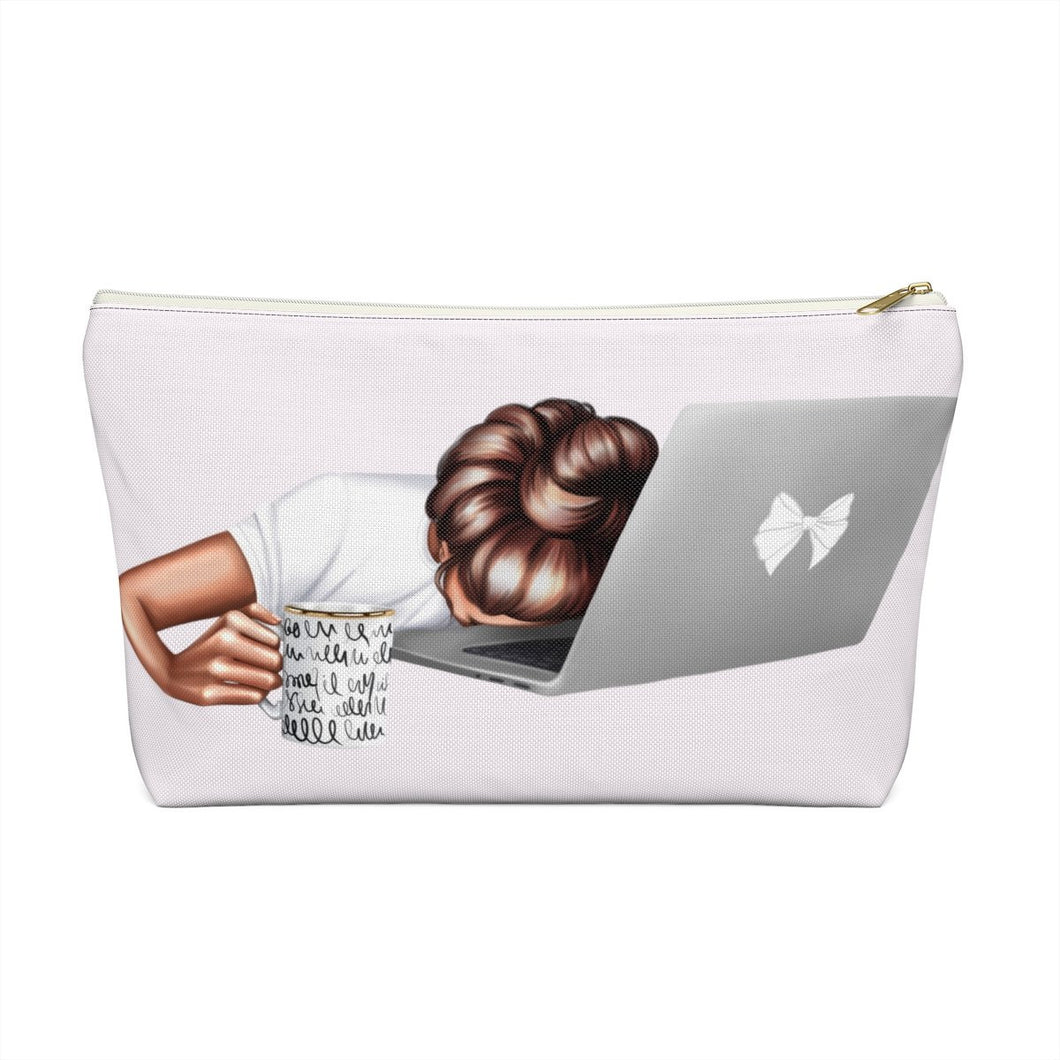 Tired Mondays Medium Skin Brown Hair Accessory Pouch with T-bottom - Pencil Case