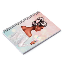 Load image into Gallery viewer, A Girl and Her Coffee Dark Skin Black Hair Spiral Notebook - Ruled Line - Planner Press Designs