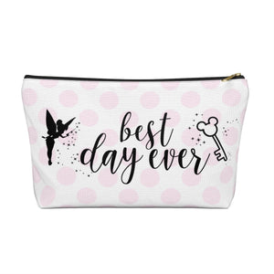 Polka Dot Best Day Ever Accessory Pouch with T-bottom - Pencil Case