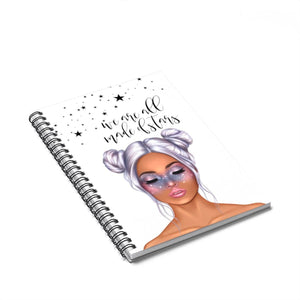 Galaxy Girl Medium Skin Purple Hair Spiral Notebook - Ruled Line - Planner Press Designs