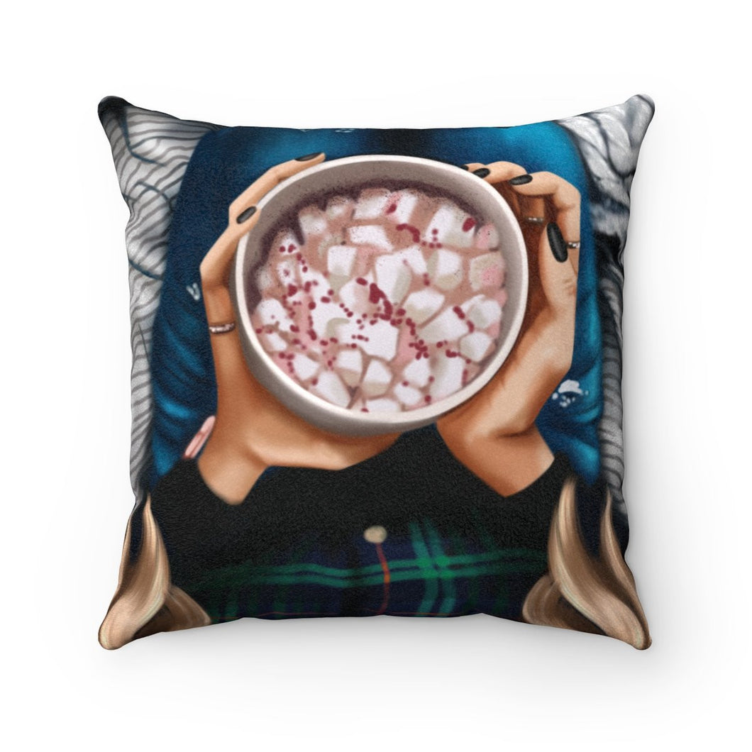 Pillow - Peppermint Hot Cocoa Light Skin Blonde Hair Faux Suede Square Pillow