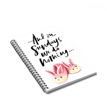 Load image into Gallery viewer, Sundays Bunny Slippers Spiral Notebook - Ruled Line