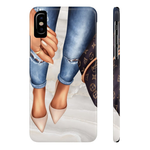 iPhone X A Girl and Her Bag Medium Skin Case Mate Slim Phone Cases