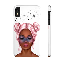 Load image into Gallery viewer, iPhone X Galaxy Girl Dark Skin Pink Hair Case Mate Slim Phone Cases