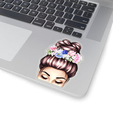 Load image into Gallery viewer, Spring Top Bun Girl Light Skin Brown Hair Vinyl Sticker Decal