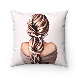 Pillow - She Had Bows In Her Hair Light Skin Brown Hair Faux Suede Square Pillow