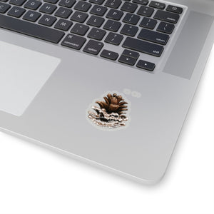 Snowy Winter Pine-cone  Vinyl Sticker Decal