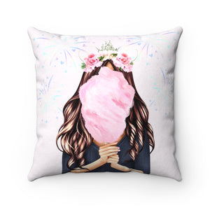 Pillowcase - Cotton Candy Disney Dreams Light Skin Brown Hair Faux Suede Square Pillow
