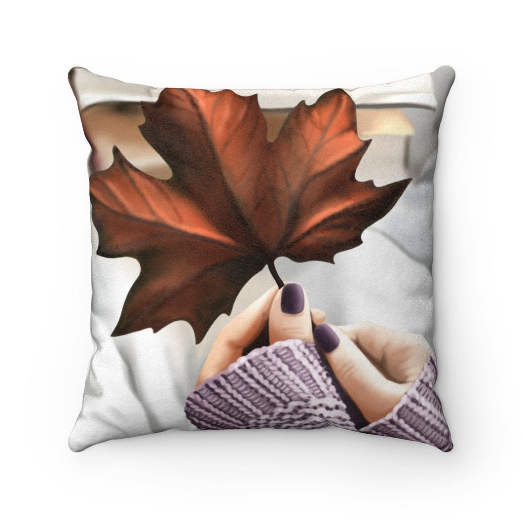 Pillow - Fall Leaves Light Skin Faux Suede Square Pillow