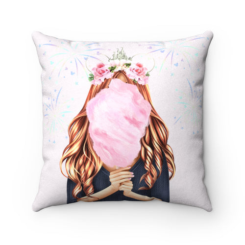 Pillowcase - Cotton Candy Disney Dreams Light Skin Red Hair Faux Suede Square Pillow