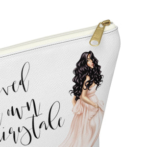 Fairytale Light Skin Black Hair Accessory Pouch with T-bottom - Pencil Case