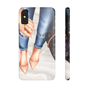 iPhone X A Girl and Her Bag Light Skin Case Mate Slim Phone Cases