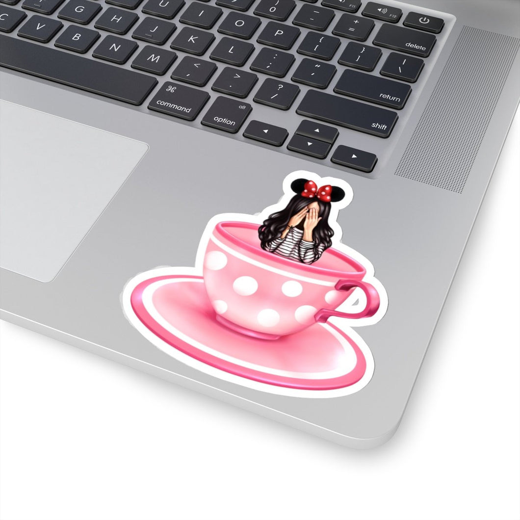 Teacup Girl Light Skin Black Hair Vinyl Sticker Decal