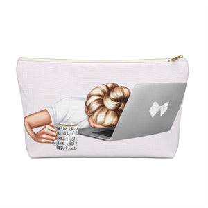Tired Mondays Light Skin Blonde Hair Accessory Pouch with T-bottom - Pencil Case