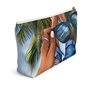 Beach Vibes Dark Skin Accessory Pouch with T-bottom - Pencil Case - Planner Press Designs