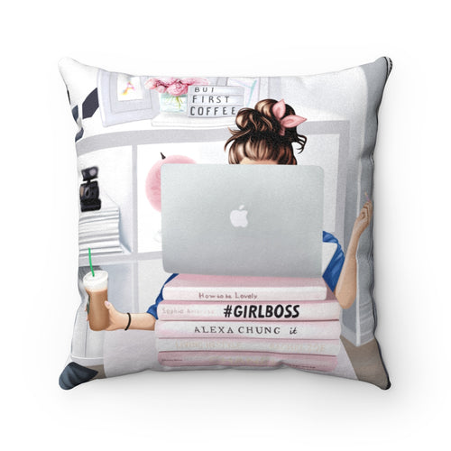 Pillowcase - Girl Boss Working Light Skin Brown Hair Faux Suede Square Pillow