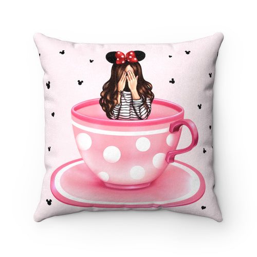 Pillowcase - Pink Teacups Dizzy Light Skin Brown Hair Faux Suede Square Pillow