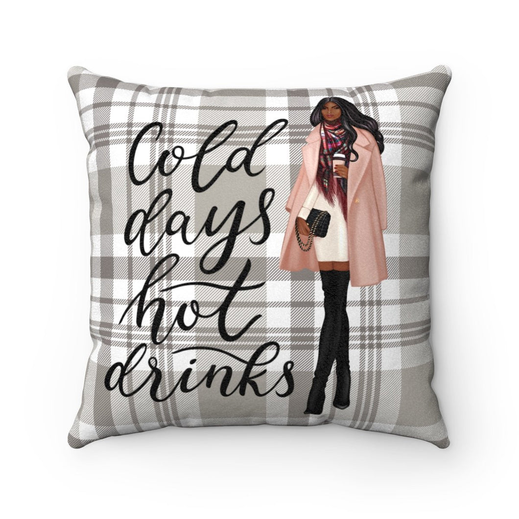 Pillow - Cold Days Dark Skin Black Hair Faux Suede Square Pillow