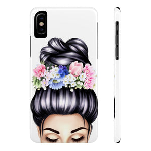 iPhone X Flowers in Her Hair Light Skin Black Hair Case Mate Slim Phone Cases