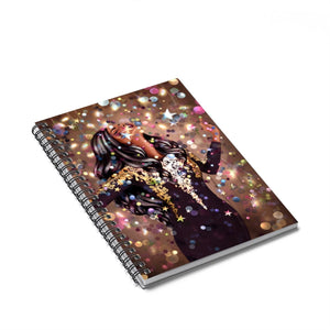 Party Time Dark Skin Black Hair Spiral Notebook - Ruled Line