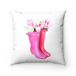 Pillow - Pink Spring Boots Faux Suede Square Pillow