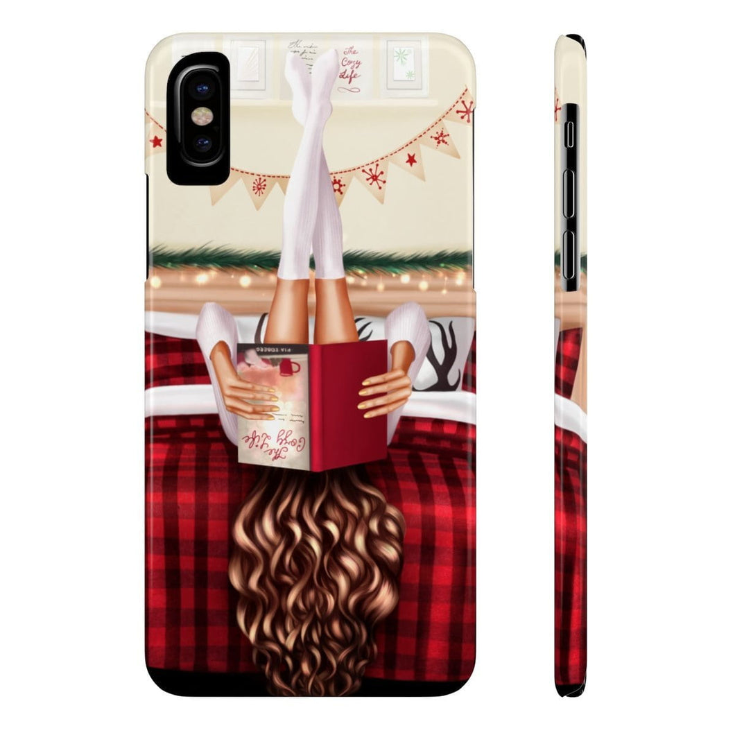 iPhone X Cozy Winter Reading Light Skin Brown Hair Case Mate Slim Phone Cases