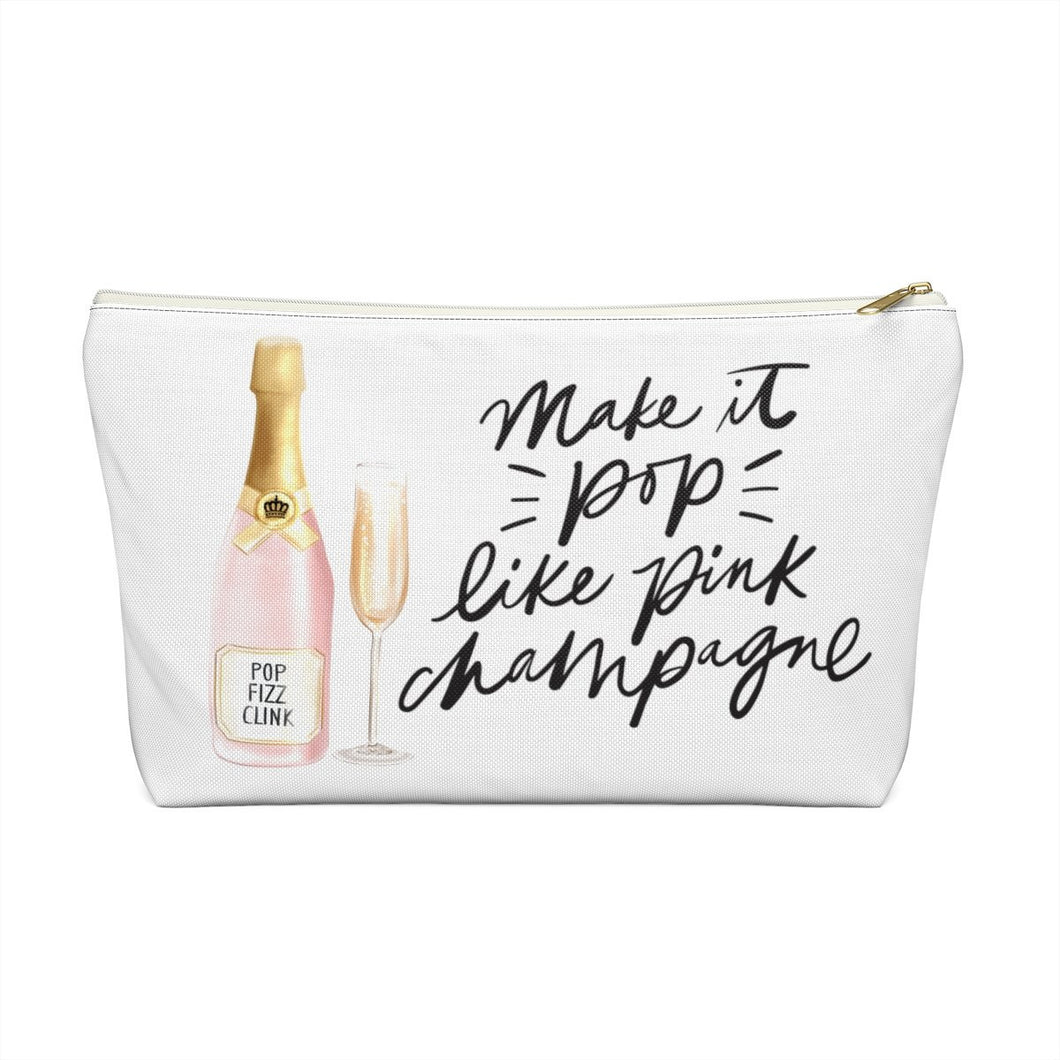 Pink Champagne Accessory Pouch with T-bottom - Pencil Case