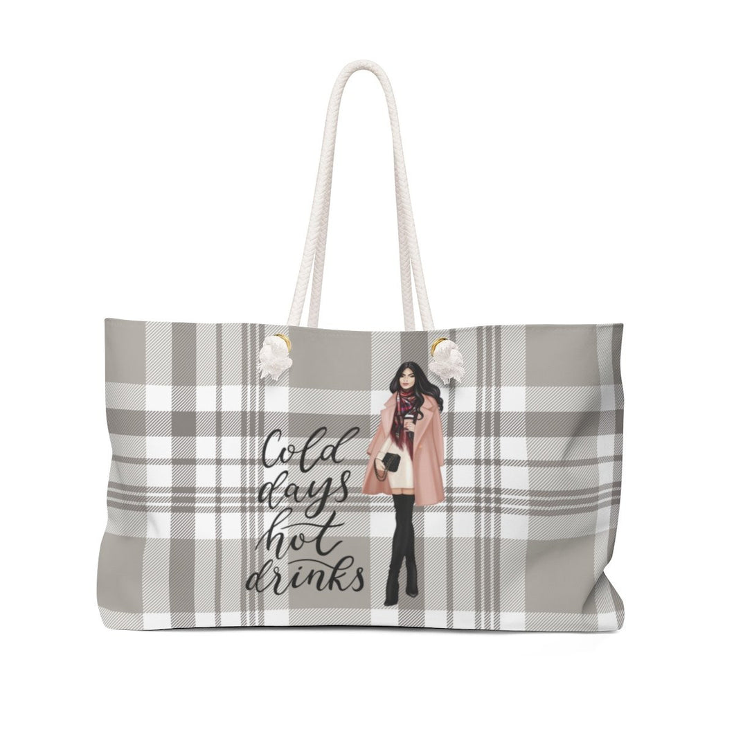 Cold Days Light Skin Black Hair Weekender Bag Tote - Weekend Tote Bag - Planner Press Designs