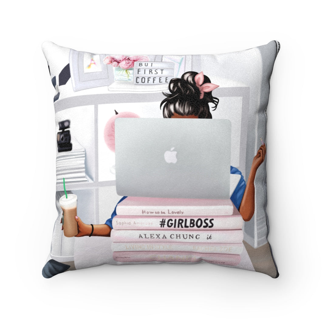 Pillowcase - Girl Boss Working Dark Skin Black Hair Faux Suede Square Pillow