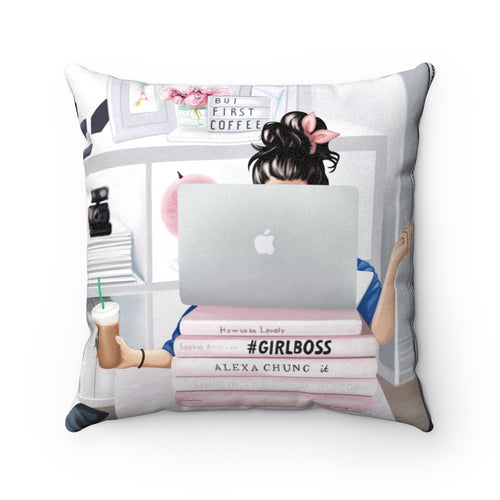 Pillowcase - Girl Boss Working Light Skin Black Hair Faux Suede Square Pillow